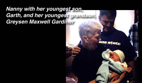 Nanny with her youngest son, Garth, and her youngest grandson, Greysen Maxwell Gardiner.